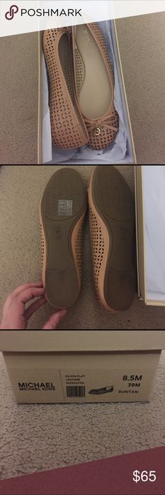 Michael kors Flats , suntan color, size 8.5 Worn once around the house, excellent like new condition MICHAEL Michael Kors Shoes Flats & Loafers