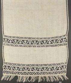 Towel Date: late 16th century Culture: Italian Medium: Linen, bobbin lace Dimensions: L. 73 x W. 18 inches 185.4 x 45.7 cm