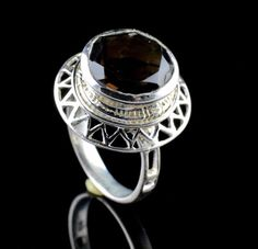 925 STERLING SILVER SMOKY QUARTZ NATURAL GEMSTONE MENS HANDMADE RING SIZE 8 US  #Unbranded