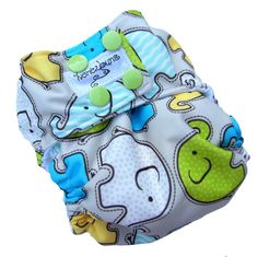 Elephants Gray AIO Cloth Diaper with PUL Snaps - XS 0-3 Months Newborn Infant Boys Girls Gender Neutral