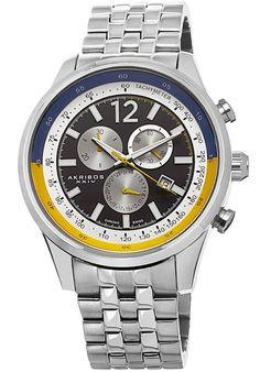 Akribos XXIV Watches Men's Chronograph Stainless Steel Black Dial Blue and Yellow Accent SS AK650SS, #AkribosXXIV, #AK650SS, #Classic