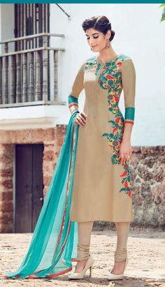 buy saree online Chiku Colour Pure Soft Cotton Satin Designer Suit Buy Saree…