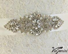 READY TO SHIP Bridal sash, , Art Deco bridal sash, wedding sash,  rhinestones and crystal sash, wedding belt, jeweled sash belt