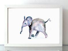 Elephant Art - Watercolor Painting - Giclee Print - Animal Painting - baby elephant illustration - Nursery Art Aquarelle elephante babyroom by Zendrawing on Etsy https://www.etsy.com/listing/244117358/elephant-art-watercolor-painting-giclee