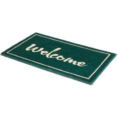Fab Habitat Painted ''Welcome'' Coir Doormat ($70) ❤ liked on Polyvore featuring home, outdoors, outdoor decor, green, coir welcome mat, welcome door mats, green door mat, coco fiber door mats and welcome doormat