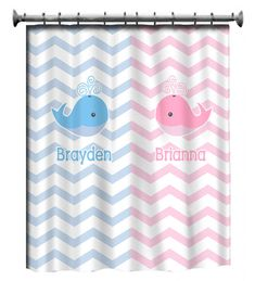 Personalized Whale Shower Curtain - Pink and Blue -Shared Curtain available Chevron, Zigzag Chevron and Swoops with children's theme Childrens Bathroom, Shared Bathroom, Bathroom Kids, Kids Bath, Kid Bathrooms, Small Bathroom, Whale Shower Curtain, Blue Shower Curtains, Blue Curtains