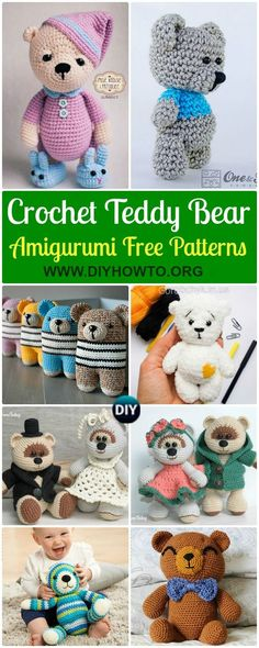 Collection of Amigurumi Crochet Teddy Bear Toys Free Patterns, Bear Softies Gifts for Kids via @diyhowto