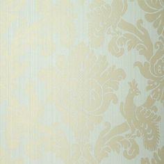Valette Strie Damask | 5003662 in Robin's Egg | Schumacher Wallcoverings