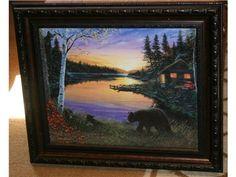 """Ervin Molnar """"Cabin on Pond Sunset"""" Scene"""