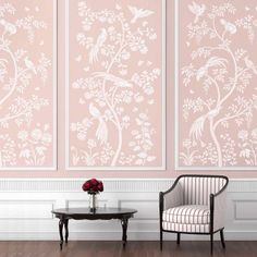 Birds and Roses Chinoiserie Wall Mural Stencil - Better than Wallpaper - Stencil for DIY Home Decor - Thumbnail 3 Wallpaper Stencil, Framed Wallpaper, Chinoiserie Wallpaper, Chinoiserie Chic, Wallpaper Panels, Stencil Diy, Stencil Painting On Walls, Wallpaper For Home, Closet Wallpaper