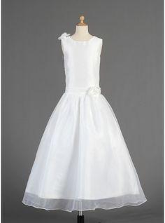 A-Line/Princess Ankle-length Flower Girl Dress - Taffeta/Organza Sleeveless Scoop Neck With Flower(s)