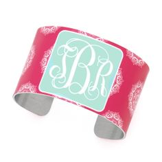 "Monogrammed Cuff Bracelet Pink Maddie Pattern Lightweight Aluminum Width 1.5"" Multiple Options  Make sure you leave a note during check-out including the color you would like as the background for your monogram, the style of monogram you'd like, your initials, and the order of your initials.  We will monogram the i..."