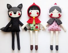 Red Riding Hood Play set of 3 rag dolls. Stuffed toys. by blita