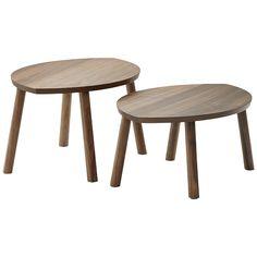 IKEA | STOCKHOLM innskotsborð, 2 í pakka hnotuspónn
