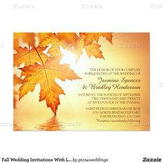 Fall Wedding Invitations With Leaves
