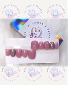 Short Press On Nails, Holographic, Etsy Seller, Place Card Holders, Creative, Pink, Pink Hair, Roses
