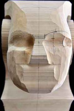 Step 9: measure and reposition the eyes in their exact location, marking the inner, outer and middle positions. Extend these markings accurately down and across the face, which will save having to repeat remarking these measurements when the wood is carved away