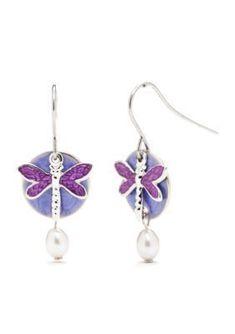 Silver Forest  Silver-Tone Purple Dragonfly Pearl Drop Earrings