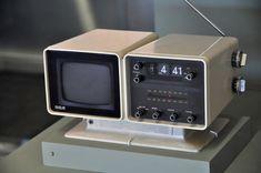 """RCA 5"""" B/W TV w/ built-in AM/FM clock radio."""