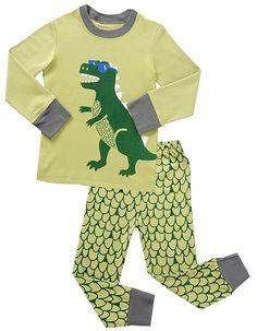 "Babyroom ""Dinosaur"" Boys' Long Sleeve 100% Cotton Pajama G7163 7 Years, Green"