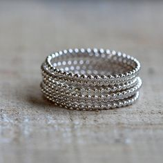 Beaded wire stacking rings unique set of  6 stacking by PraxisJewelry, $48.00 Praxis Jewelry