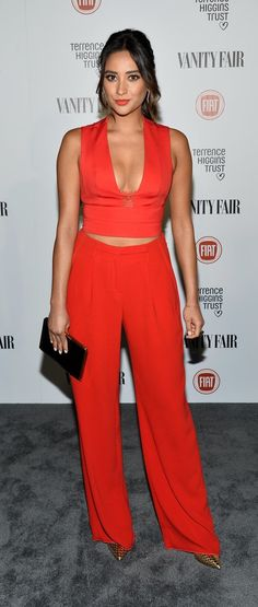 Shay Mitchell rocked a fiery red crop top.