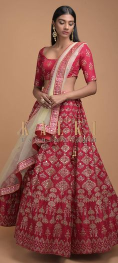 Scarlet Red Lehenga With Foil Printed Buttis And Chandelier Motifs Online - Kalki Fashion Lengha Choli, Red Lehenga, Sari, Mehendi, Indian Wear, Indian Outfits, Scarlet, Repeat, Hemline