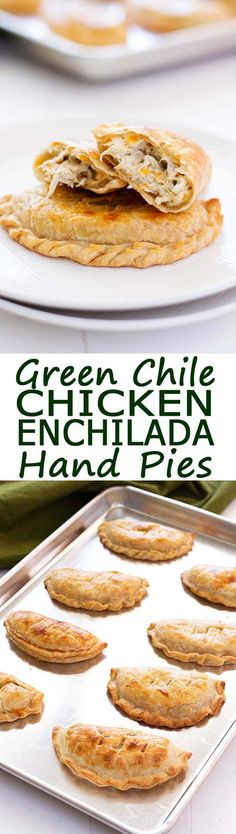 Green Chile Chicken Enchilada Hand Pies! Flavorful filling of cream cheese, chicken and green chiles similar to enchiladas suizas or enchiladas verdes! | Kitchen Gidget