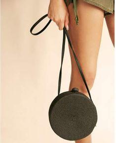 Express round straw crossbody bag #handbags