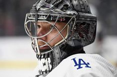 LOS ANGELES, CA - FEBRUARY 3: Jonathan Quick #32 of the Los Angeles Kings is seen wearing a Dodgers warmup jersey as part of Dodgers Night before a game against the Arizona Coyotes at STAPLES Center on February 3, 2018 in Los Angeles, California. (Photo by Adam Pantozzi/NHLI via Getty Images)