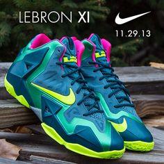 "Available 11/29/13- Nike: LebronXI ""T-Rex"" (GS,PS,TD) -  Deep Sea/ Volt at jimmyjazz.com #jimmyjazz #trendingnow #Nike #Lebron11 #TRex #LebronJames #IGSneakerCommunity"