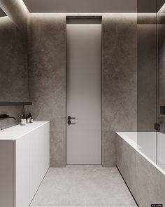 Contemporary Bathroom Designs, Bathroom Design Luxury, Contemporary Interior Design, Modern Bathroom, Modern Design, Apartment Projects, Apartment Interior, Home Room Design, House Design