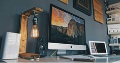 """Really lovely setup inspiration from @masonstonevidaurri Even has an Edison lamp. Would you get this type of setup? #interiordesign #digital #interface…"""