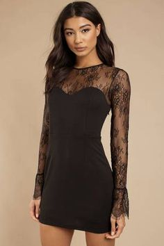 Wear the Julie Black Lace Bodycon Dress. This lace paneled bodycon dress features a high mesh underlay with a sweetheart necklin Bodycon Prom Dresses, Black Bodycon Dress, Lace Dress Black, Dress Lace, Dance Dresses, Sexy Dresses, Casual Dresses, Luis Pasteur, Vestidos