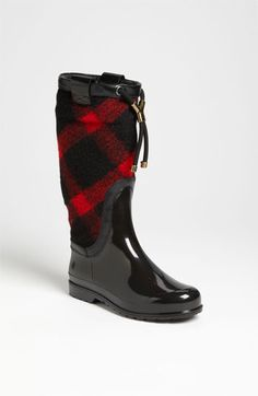 Cozy, check-patterned fabric wraps the shaft of a cold-weather classic. #boots #burberry #nordstrom