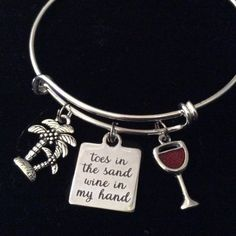 Toes in the Sand Wine in my Hand Expandable Silver Charm Bracelet Ocean Nautical Adjustable Wire Bangle Gift