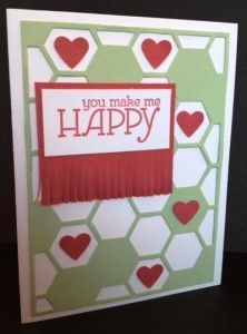 Handmade card using the Happy Watercolors stamp set, Hexagon Hive Thinlits Die, Fringe Scissors and Small Heart Punch from Stampin' Up!