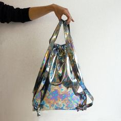Items similar to Drawstring Backpack bag metallic Yuma holographic hologram gift for her berlin cat portrait art artistic etsy finds silver gym solid on Etsy Rucksack Bag, Backpack Bags, Drawstring Backpack, Unique Backpacks, White Backpack, Metallic Bag, Holographic, Real Leather, Bucket Bag