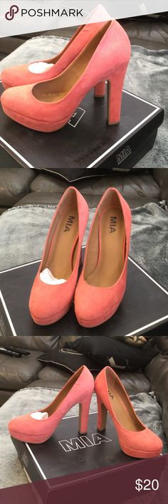 Mia salmon color vegan suede pumps size 7 Mia original color pumps. These shoes are not new and show some minor signs of wear ( unable to capture with photos) Mia Shoes Heels