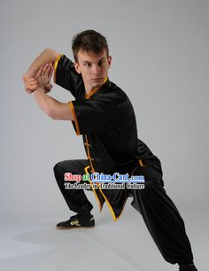 Black Kung Fu Martial Arts Silk Competition Uniform for Men or Women #277