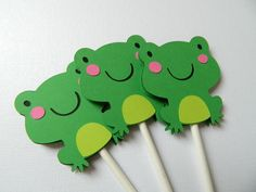 Frog Cupcake Toppers, Frog Baby Shower, Frog Birthday Party by 2muchpaper on Etsy https://www.etsy.com/listing/263294057/frog-cupcake-toppers-frog-baby-shower