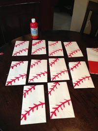 Baseball party favors bags,white paper bags and red paint (piñata bags)