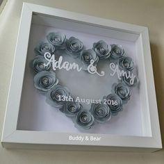 Any colour/ text #weddinggift, #1stanniversary, #papercraft, #madebybuddyandbear www.facebook.com/madebybuddyandbear