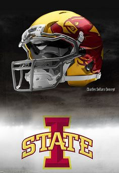 Like the shadow logo and Iowa State Football Helmet Design, College Football Helmets, Sports Helmet, Football Gear, Football Uniforms, Sports Uniforms, Nike Football, Iowa State Football, Iowa State Cyclones