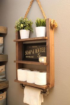 Farmhouse Bathroom Storage Shelf Decor with Industrial Towel Bar - Rustic Wood Rope Bathroom Farmhouse Ladder Shelf Industrial Towel Rack Rustic Regal Bad, Bathroom Towel Storage, Rustic Bathroom Shelves, Bathroom Organization, Industrial Bathroom, Organization Ideas, Bathroom Ladder Shelf, Bathroom Baskets, Decorative Bathroom Towels