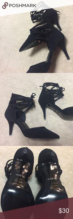 Aldo shoes NEVER worn Aldo black Suede shoes in size 8.5 - Zipper in back, heel is 3 inches ALDO Shoes Heels