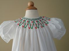 Hand Smocked Little Girls Dress  Party ribbons plate?