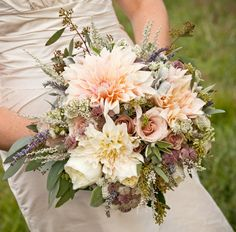Dahlias, roses, lavendar, sage--this is gorgeous!!