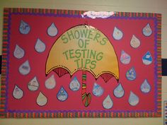 school bulletin boards, test taking strategies, new students, teacher tips, bulletinboard, classroom ideas, teachers, april showers, board idea