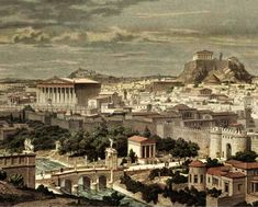 Wood-engraving of Athens under emperor Hadrian Greece Architecture, Ancient Greek Architecture, Chinese Architecture, Historical Architecture, Ancient Greek Art, Ancient Rome, Ancient Greece, Egyptian Art, Ancient Aliens